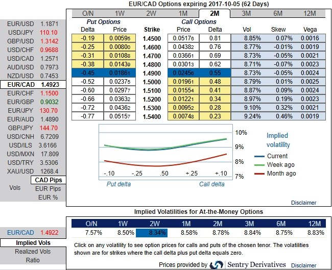 FxWirePro Bid Diagonal Call Ratio Spread As Hedging Vehicle For EUR CAD 2w 2m Skews